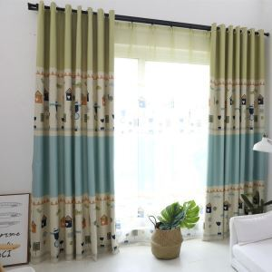 Modern Simple Curtain Printing Pattern Curtain Polyester Fabric Cartoon Theme Pattern