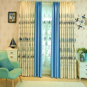 Modern Simple Curtain Embroidered Curtain Linen Fabric Sailboat Pattern