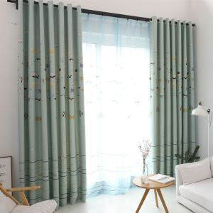 Modern Simple Curtain Printing Pattern Curtain Polyester Fabric Cartoon Fish Pattern Curtain