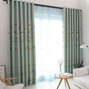 Modern Simple Curtain Printing Pattern Curtain Polyester Fabric Cartoon Fish Pattern Curtain