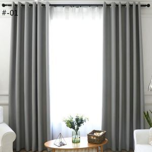Modern Simple Curtain Solid Color Curtain Polyester Fabric Living Room Decoration Curtain 2 Colors Available