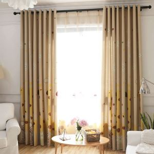 European Simple Curtain Printing Pattern Curtain Polyester Fabric Cartoon Giraffe Pattern