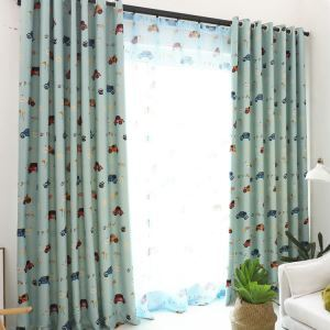 European Simple Curtain Printing Pattern Curtain Polyester Fabric Cartoon Car Pattern