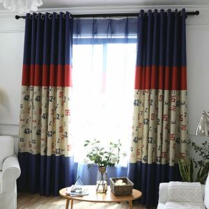 European Simple Curtain Printing Pattern Curtain Polyester Fabric Cartoon Numbers Pattern