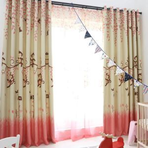European Simple Curtain Printing Pattern Curtain Polyester Fabric Cartoon Monkey Pattern 2 Colors Available