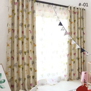 European Simple Curtain Printing Pattern Curtain Polyester Fabric Cartoon Horse Pattern 2 Colors Available