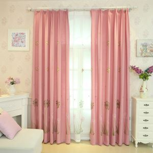 European Simple Curtain Embroidered Curtains Cotton and Linen Fabric Dandelion Butterfly Pattern