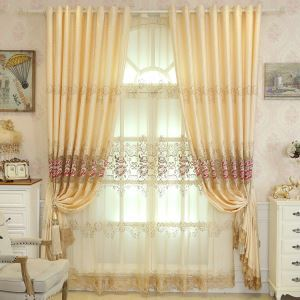 European Simple Curtain Embroidered Curtains Linen Fabric Peony Pattern Living Room Decoration Curtain