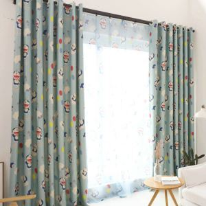 European Simple Curtain Printing Pattern Curtain Polyester Fabric Doraemon Pattern
