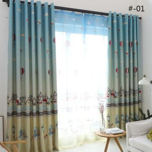 European Simple Curtain Printing Pattern Curtain Polyester Fabric House and Snowman Pattern 2 Colors Available