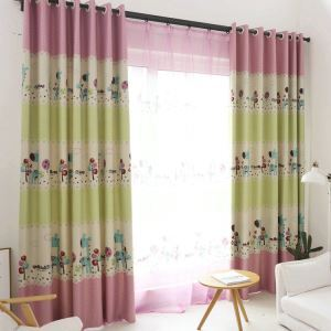 European Simple Curtain Printing Pattern Curtain Polyester Fabric Giraffe Pattern