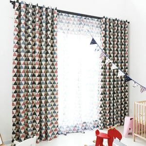 European Simple Curtain Polyester Fabric Triangle Pattern Living Room Decoration Curtain