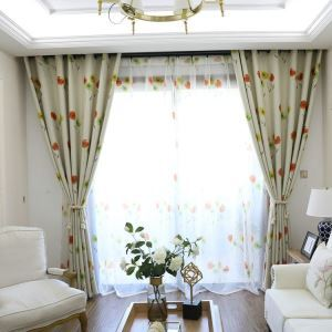 European Simple Curtain Printing Pattern Curtain Polyester Fabric Colorful Small Flower Pattern