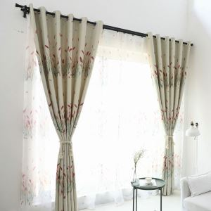 European Simple Curtain Printing Pattern Curtain Polyester Fabric Panicle Pattern