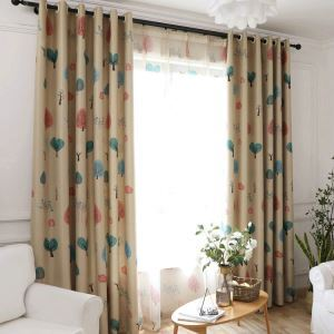 European Simple Curtains Polyester Fabric Living Room Decorative Curtain Cartoon Tree Pattern