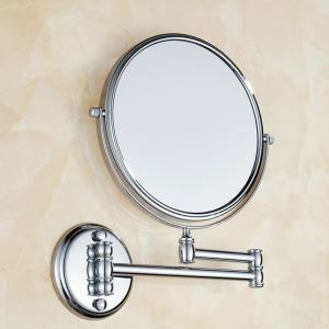 Bathroom Cosmetic Mirror Copper Chrome Plating Craft European Style Scalable Folding Bathroom Beauty Mirror