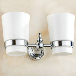 Toothbrush Cup Holder Chrome Plating Craft European Style Toothbrush Holder for Bathroom
