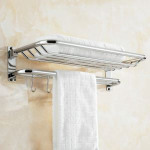 Copper Towel Rack for Bathroom Chrome Plating Craft European Style with Hooks Bathroom Towel Bar