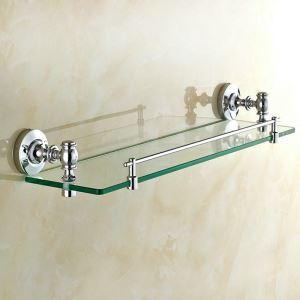 Glass Bath Shelf for Bathroom Chrome Plating Craft European Style Glass Shelf