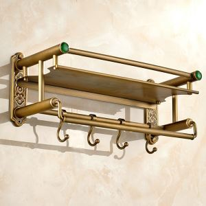 Bath Shelf for Bathroom Copper Brushed Finish Retro with Hooks Towel Rack