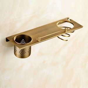 Bath Shelf for Bathroom Copper Brushed Finish Retro Towel Rack