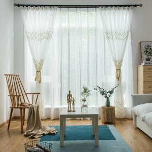 Embroidery Sheer Curtain Simple European Wavy Pattern Living Room Bedroom Curtain