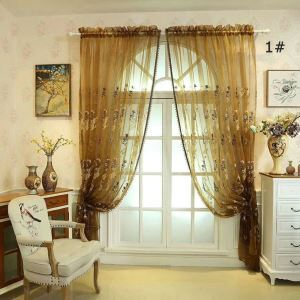 Embroidery Curtain Luxury American Sheer Curtain Semi Blackout Bedroom Curtain