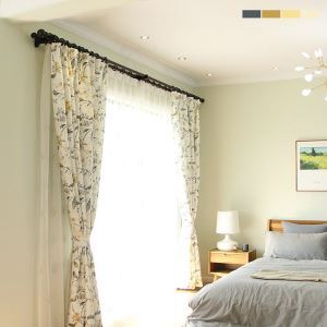 Blackout Curtain American Pastoral Bird Printed Curtain Environment Protective Cotton and Linen Bedroom Curtain