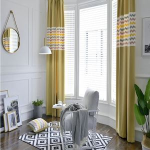 Embroidery Curtain American Simple Style Wavy Pattern Yellow Living Room Curtain