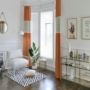 Embroidery Curtain European Living Room Bedroom Curtain Stitching Solid Color Curtain