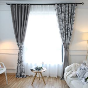 Blackout Curtain Modern American Style Curtain Unique Newspaper Printed Curtain Grey Bedroom Curtain