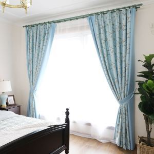 Blackout Curtain American Pastoral Blue Flower Printed Curtain Bedroom Decorative Curtain