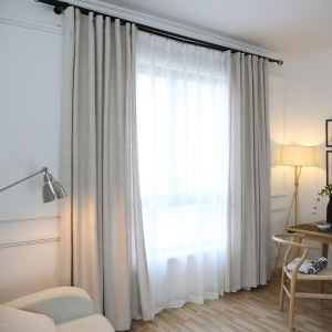 Modern Curtain Japanese Simple Style Environment Protective Cotton and Linen Curtain Living Room Solid Color Curtain
