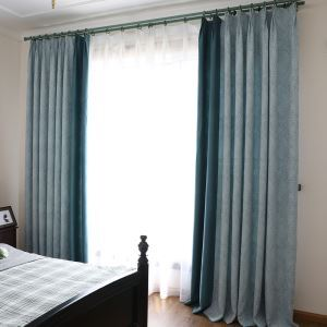 Blackout Curtain European Simple Style Soft Cotton Blue Jacquard Curtain Decorative Bedroom Curtain