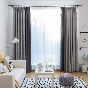 Blackout Curtain European Style Cotton Jacquard Curtain Decorative Feather Pattern Bedroom Curtain