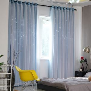 Modern Curtain Korean Fresh Style Hollow Star Pattern Blackout Sheer Curtain Solid Color Living Room Curtain