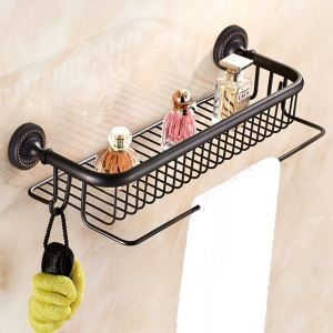 Bath Shelf for Bathroom Oil Rubbed Bronze Craft Black Retro with Hooks Towel Rack