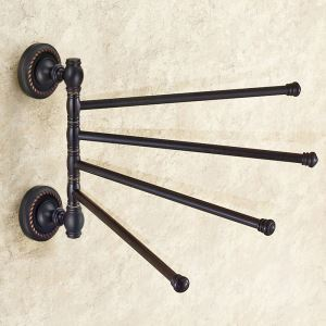 Towel Rack for Bathroom Oil Rubbed Bronze Craft Black Retro Rotatable Towel Bar