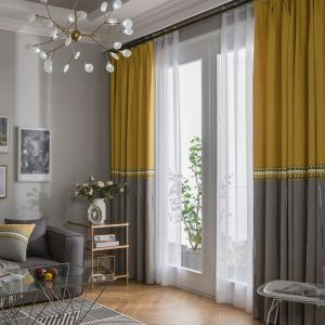 Embroidery Curtain Fashion Simple Living Room Decorative Curtain Solid Color Curtain