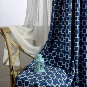 Abstrac Printing Curtain Blue Fashion Window Treatment