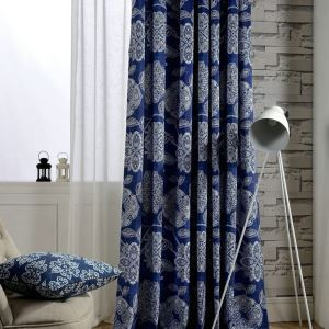 Blue Printing Curtain Living Room Bedroom