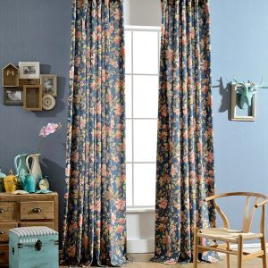 Living Room Curtain Blue Magnificent Printing Bedroom Window Treatment