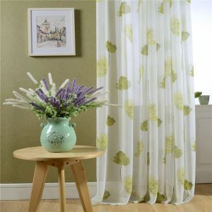 Breathable Sheer Curtain Yellow Printing Voile Curtain Panle