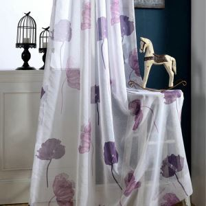 Modern Minimalist Voile Sheer Curtain Lotus Leaf Purple Bedroom