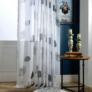 Modern Minimalist Sheer Curtain Ink Painting Print Living Room Study Room