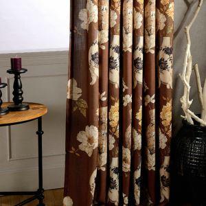 Linen Flower Curtain Brown Window Treatment
