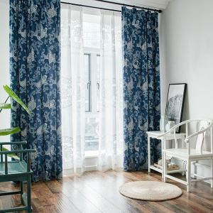 Environmental Protection Blackout Curtian Blue Printing Living Room