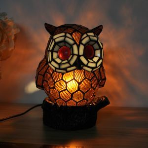 Tiffany Light Kids Room Table Lamp Owl Model Shade Bedroom Bedside Lamp European Pastoral Retro Style Light