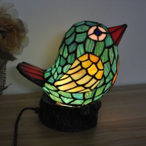 Tiffany Light Kids Room Table Lamp Bird Model Shade Bedroom Bedside Lamp European Pastoral Retro Style Light