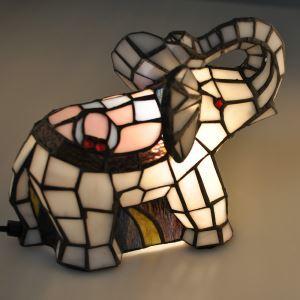 Tiffany Light Kids Room Table Lamp Elephant Model Shade Bedroom Bedside Lamp European Pastoral Retro Style Light